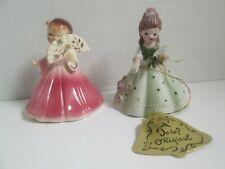 2 Vintage Josef Original Girl Figurines - Pink Secret Pal and Belle of the Ball