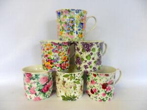 Set of 6 assorted floral china palace mugs