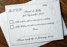Personalised Wedding RSVP Cards & Envelope *9 colours*