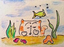 ACEO Art Original Signed Watercolor  Fishing Cat MiloLee
