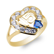 14K Yellow Gold 15 Anos Quinceanera Blue Topaz CZ Heart Ring Size 4-10