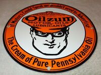 "VINTAGE ""OILZUM MOTOR OILS"" 11 3/4"" PORCELAIN METAL GASOLINE OIL SIGN PUMP PLATE"