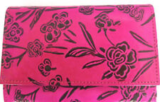 LEATHER WALLET STYLE PURSE. PINK & BLACK FLORAL PATTERN. HANDMADE & FAIR TRADE