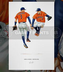 Carlos Correa George Springer Houston Astros Print Poster Illustrated Art