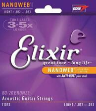 Elixir Nanoweb 80/20 Bronze Acoustic Guitar String 11002 11025 11027 11052