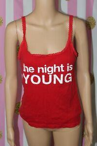 "Victoria's Secret PINK regular Medium red ""the night is young"" night shirt tank"
