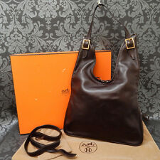 Rise-on HERMES Massai Dark Brown Box Calf Leather 2 Way Shoulder bag #15