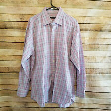Burberry London Mens Long Sleeve Button Up Pink Plaid Shirt Size 17/34 EUC USA