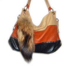 Real Natural Raccoon Tail Fur Keychain Tassel Bag Tag Purse Charm Keyring