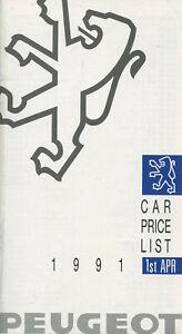 CAR BROCHURE: PEUGEOT CAR PRICE LIST - 1991
