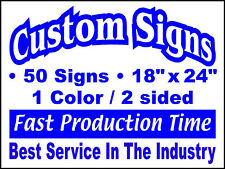 50 18x24 1Color/2Sided Yard Signs. Real Estate, Campaign, Political, Business