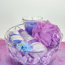Luxurious Nail Spa Basket- Women GREAT GIFT! Lilac Scented Candle Christmas Gift