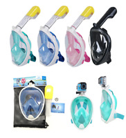 Kids Adult Full Face Mask Surface Diving Snorkel Swimming Scuba Pipe For Gopro