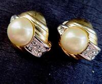"Vintage Gold Tone Faux Pearl & Rhinestones Clip Earrings 1"""