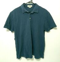 J. Crew Mens Shirt Size L Navy Blue Short Sleeve Collared Rugby Polo 100% Cotton