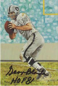 George Blanda Autographed Oakland Raiders Goal Line Art Card HOF 81 Black 10555