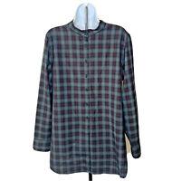 Mens Pendleton Shirt Size XL Red Gray Plaid Virgin Wool Band Collar Button Up