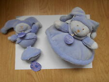 LOT 2 DOUDOU ET COMPAGNIE douceur macaron violet bleu musical hochet