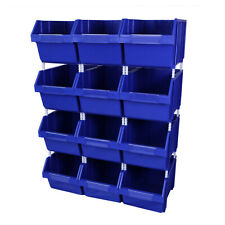 12 x Blue Plastic Parts Bins - Component Storage Boxes Picking Bin Workshop Box