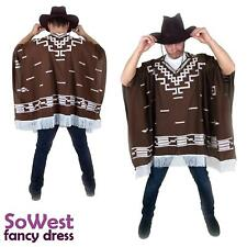 Fancy Dress Mexican Cowboy Poncho for Clint Eastwood Stag Nights & Hat