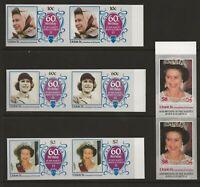 UNION ISLE 1986 60TH BIRTHDAY QUEEN ELIZABETH 11, IMPERF MARGINAL GUTTER PAIRS