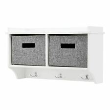 More details for 2 white wall mounted coat rack with display shelf storage unit hallway organiser