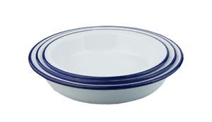 Set of 3 Falcon White Enamel Round Pie Pudding Baking Oven Dish - 18/20/22cm