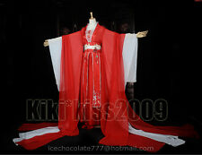 China Fairy Girl's Han Fu Tan Dynasty Red&White Kimono Chiffon Cosplay Dress