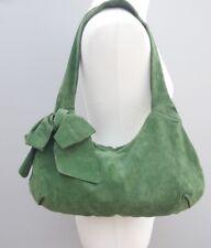 Lk Bennett Suede Leather Shoulder Shopper Bag Handbag Slouch Green Bow