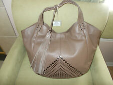 $425 Isabella Fiore Bellmore Tote Truffle Taupe Leather Tassel Bag NWT