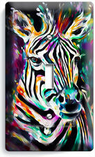 COLORFUL ZEBRA LIGHT SWITCH SINGLE WALL PLATE COVER ART STUDIO ROOM HOME DECOR