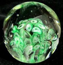 "2.5"" Green & White Millefiori Art Glass Paperweight"