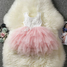 Baby Flower Girl Dress Princess Lace Tulle Tutu Backless Gown Party Dress Size 6