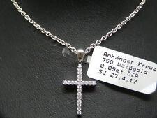NUEVO brillante collar cruz en oro blanco brillantes 0,09 CT TW Si Colgante