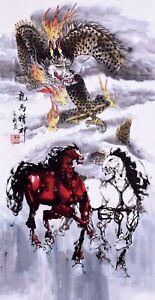 100% ORIGINAL FINE ART CHINESE ANIMAL WATERCOLOR PAINTING-Dragon&Horses Lover