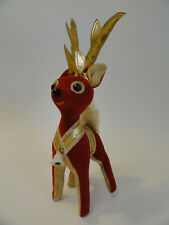 """Vintage 10"""" Tall Red & White Reindeer With Antlers Christmas Decoration A4-16"""