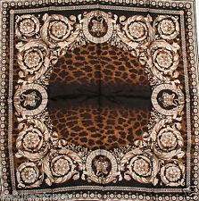 """Versace Grey Leopard Print Silk Square Scarf F005TWA8669  0011 34 x 34"""""""