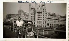 Antique Vintage Photograph Man & Girl Riding Bikes Boardwalk Atlantic City 1954
