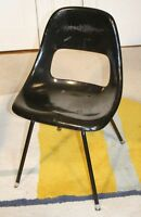 Vintage Modern Black Fiberglass Shell Chair. Similar to Herman Miller & Eames