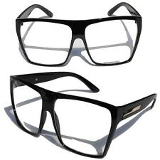 Big Oversized Gloss Black Super Nerdy Square Sun Glasses Trapezoid Gold