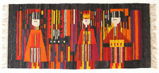More details for modernist semi abstract vintage 1970's folk art polish textile wall hanging rug
