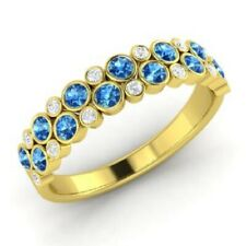 1.00 Ct Natural Diamond Topaz Wedding Eternity Band 14K Solid Yellow Gold Rings