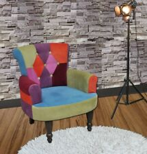 Vintage Accent Chair Bedroom Patchwork Chair Fabric Seat Button Small Furniture