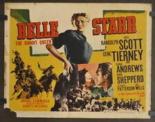 BELLE STARR R-1948 ORIG 22X28 MOVIE POSTER RANDOLF SCOTT GENE TIERNY