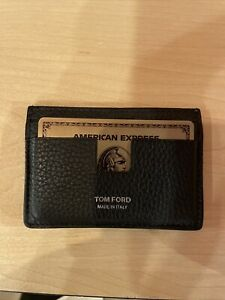 Tom Ford Pebbled Leather Card Holder Wallet AMEX Gift   Black   USED 2 Months