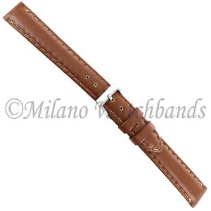 14mm Milano Silicon Tan Genuine Leather Padded Stitched Watch Band Ladies 755