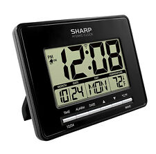 Sharp ATOMIC ALARM CLOCK with INDOOR TEMPERATURE CALENDAR Wall Mountable BATTERY