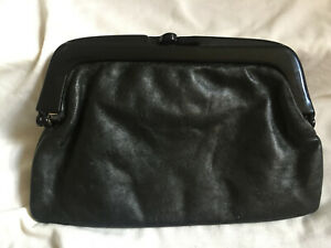 VINTAGE 1970s Mod Black Plastic Frame Genuine Leather Italian Clutch Hand Bag