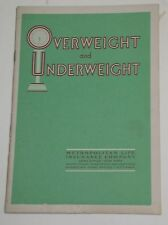 "Gd Vintage 1930s ""Overweight and Underweight"" Metropolitan Life Ins Health Bklet"