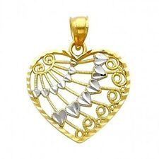 Multi Hearts & Circle Charm Wings Abstract Designed 14k Two Tone Gold Pendant